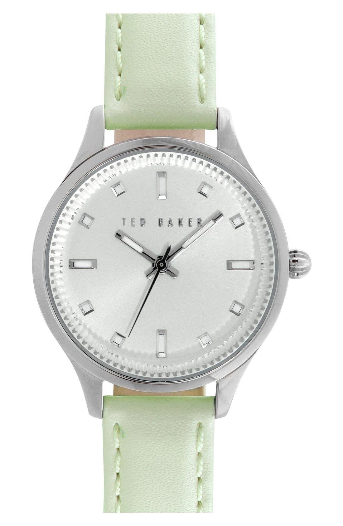 Ted Baker London 'Dress Sport' Leather Strap Watch, 32mm