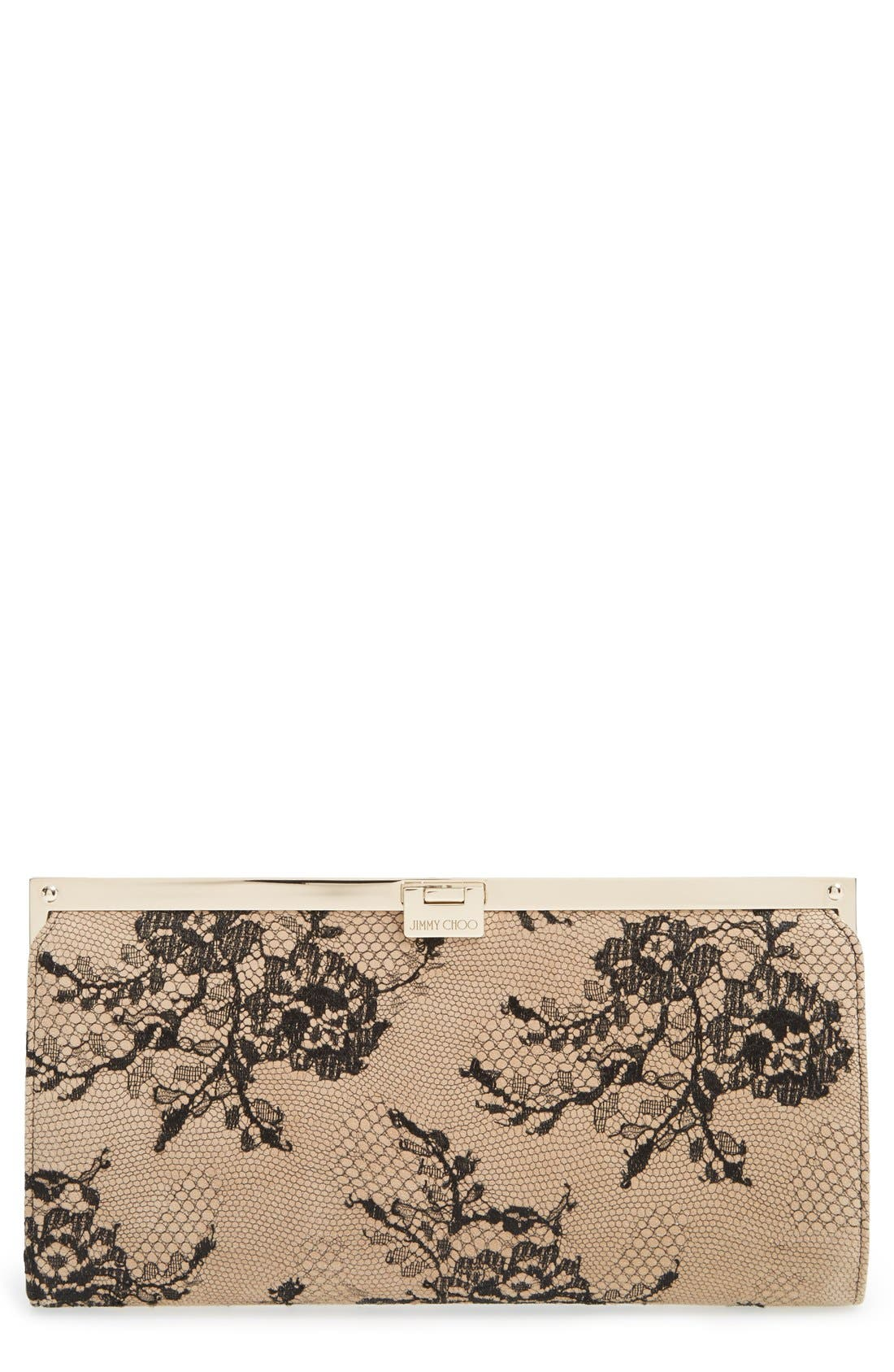 Camille Lace & Leather Clutch,                         Main,                         color, Black