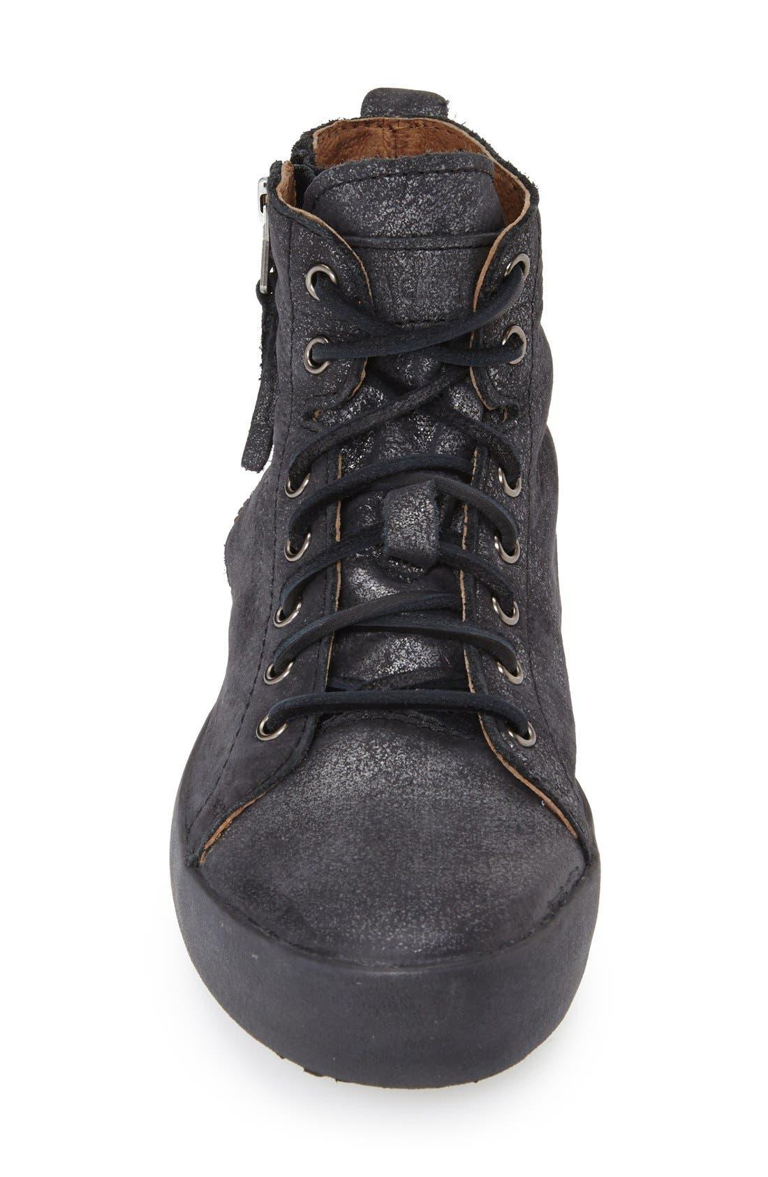 'JL' High Top Sneaker,                             Alternate thumbnail 3, color,                             Black Metallic