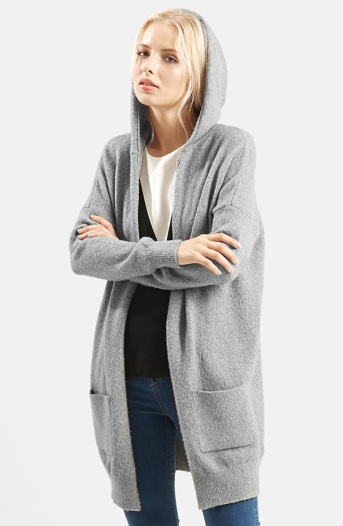 Main Image - Topshop Open Front Hooded Cardigan