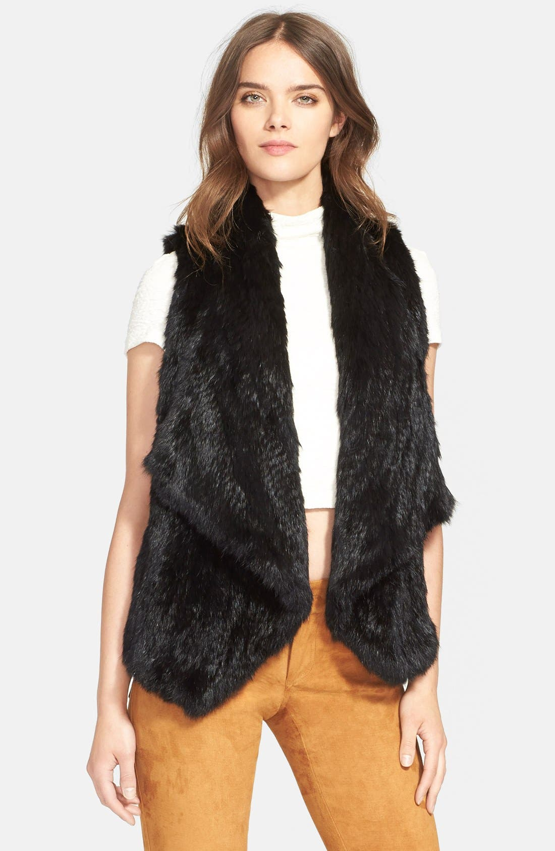 'Harriet' Genuine Rabbit Fur Vest,                             Main thumbnail 1, color,                             Black