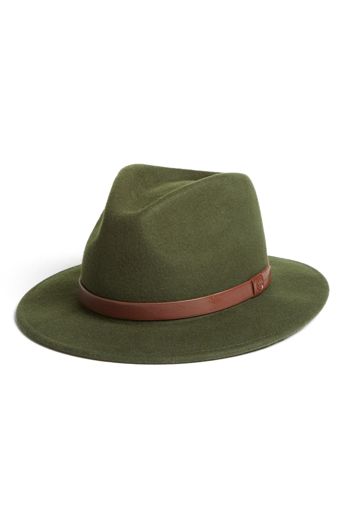 'Messer' Wool Fedora,                             Main thumbnail 1, color,                             Moss