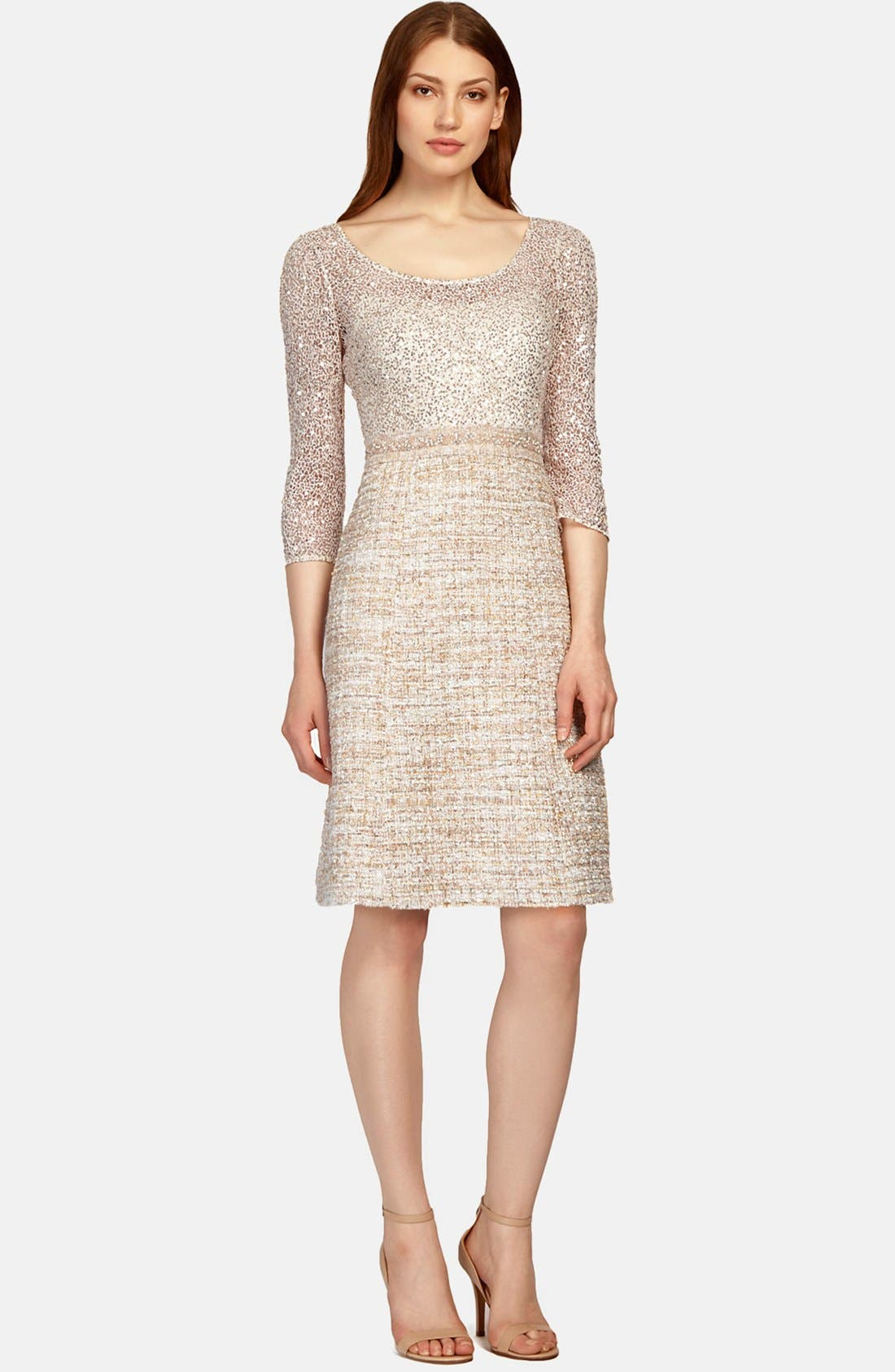 Main Image - Kay Unger Mixed Media Fit & Flare Dress