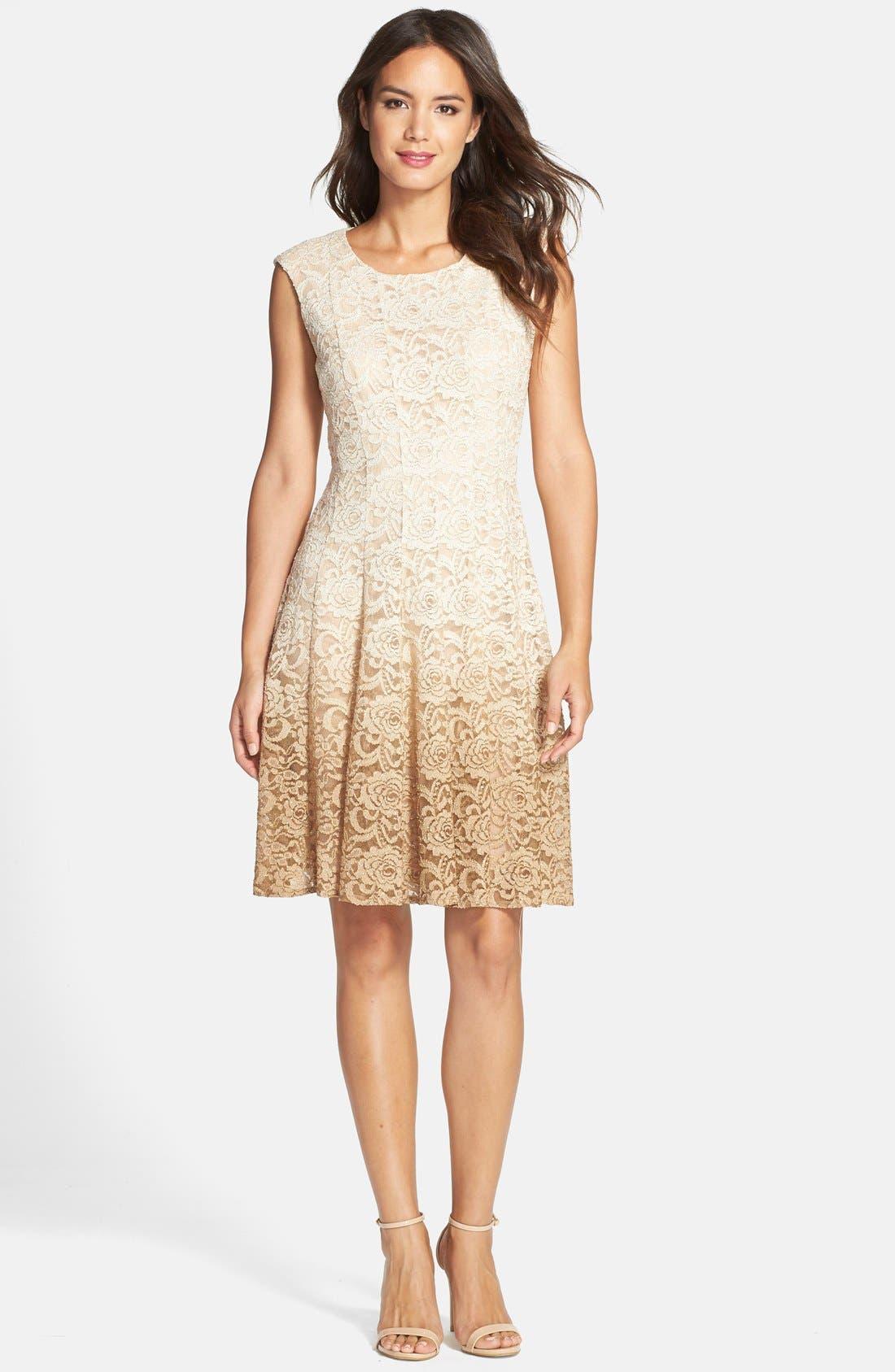 Main Image - Chetta B Ombré Lace Fit & Flare Dress