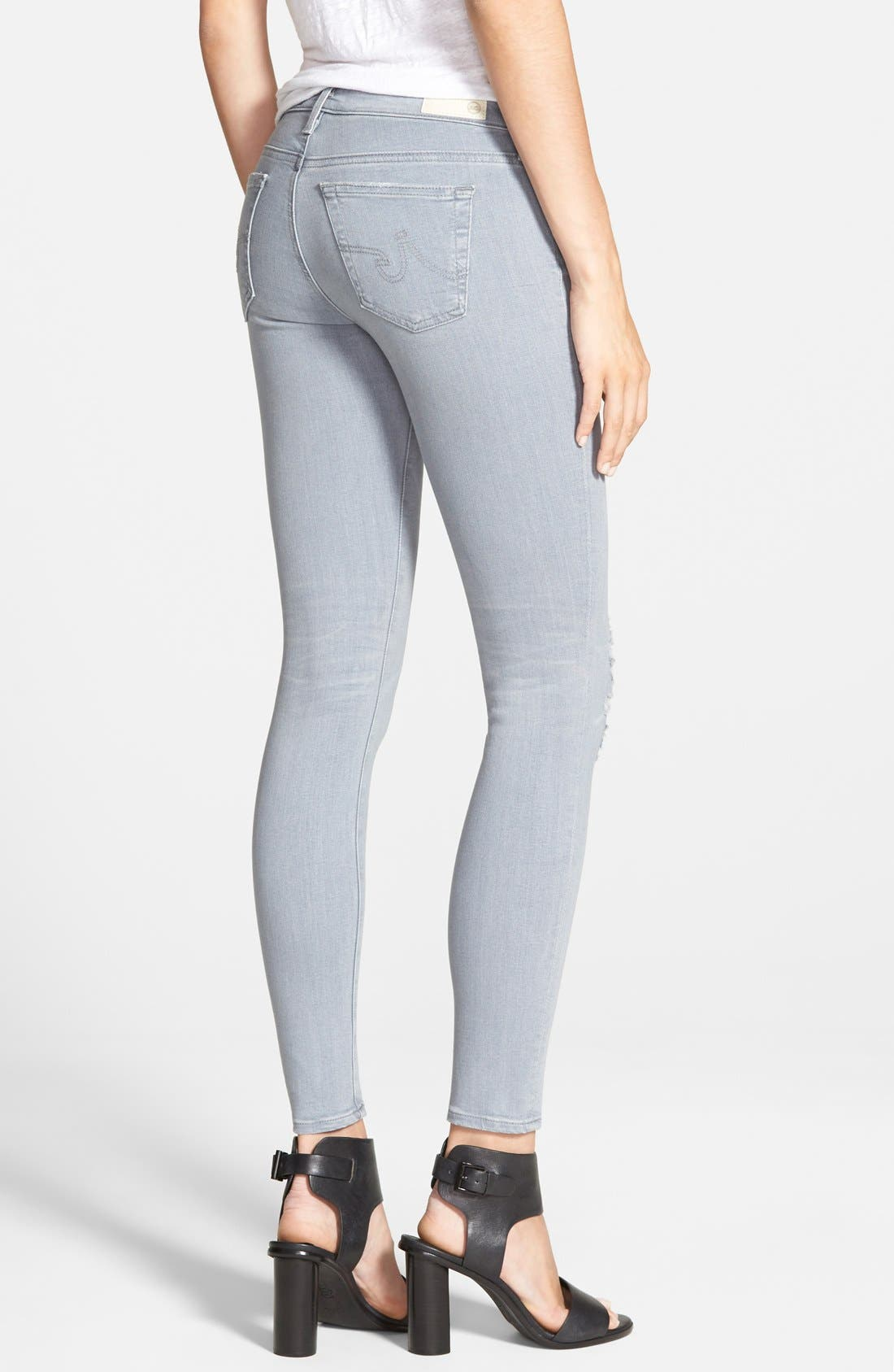 Alternate Image 2  - AG Ankle Super Skinny Jeans (10 Years Light Onyx Destroyed)