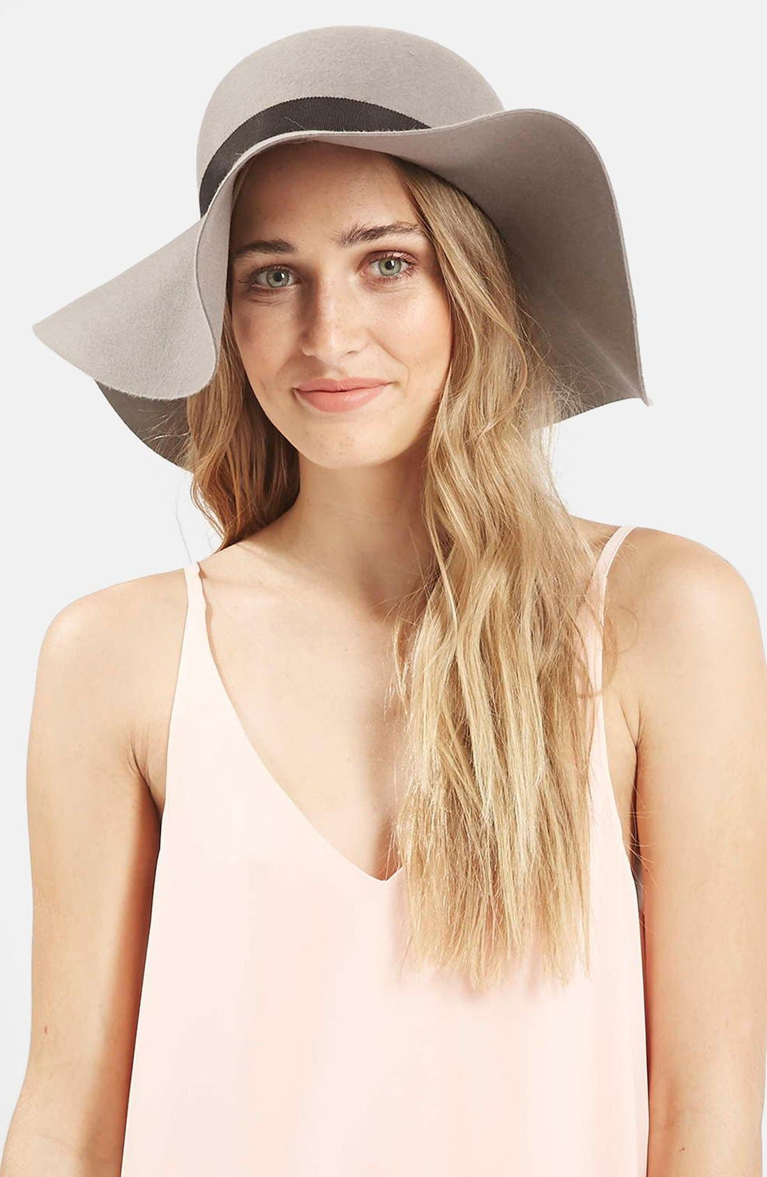 Floppy Wool Felt Hat,                         Main,                         color, Grey