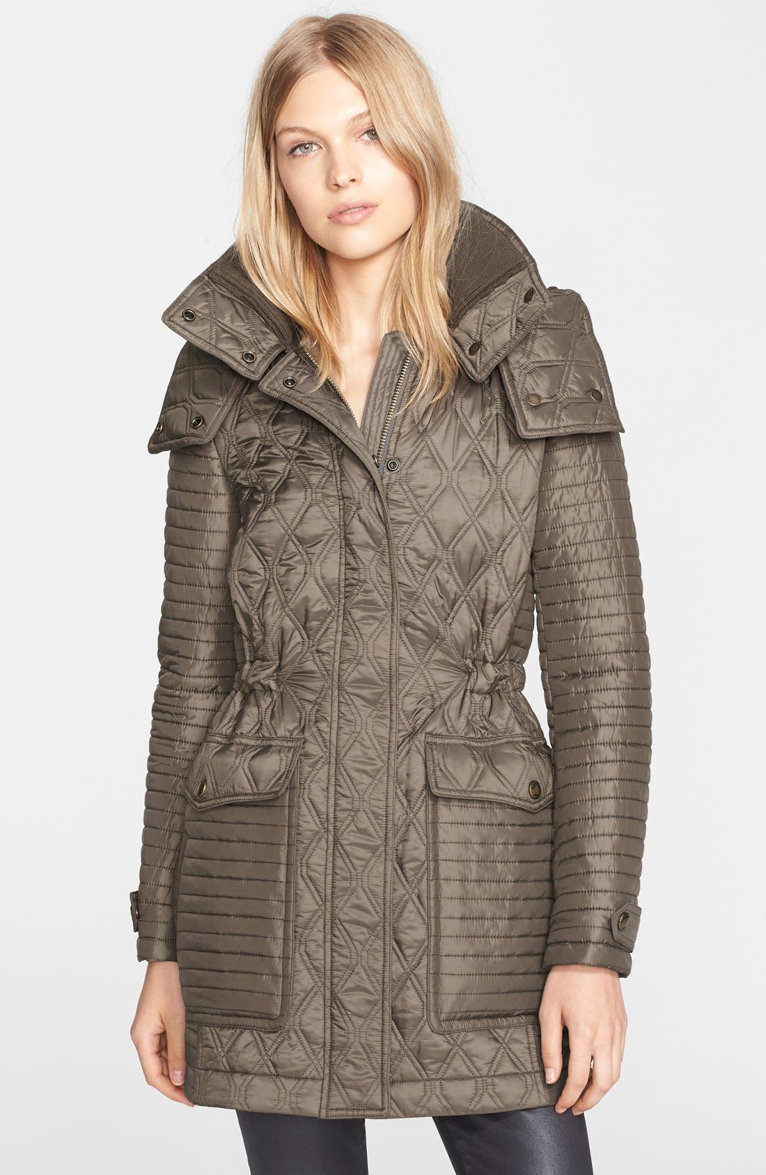 'Bosdale' Quilted Coat with Detachable Hood,                             Main thumbnail 1, color,                             Mink Grey