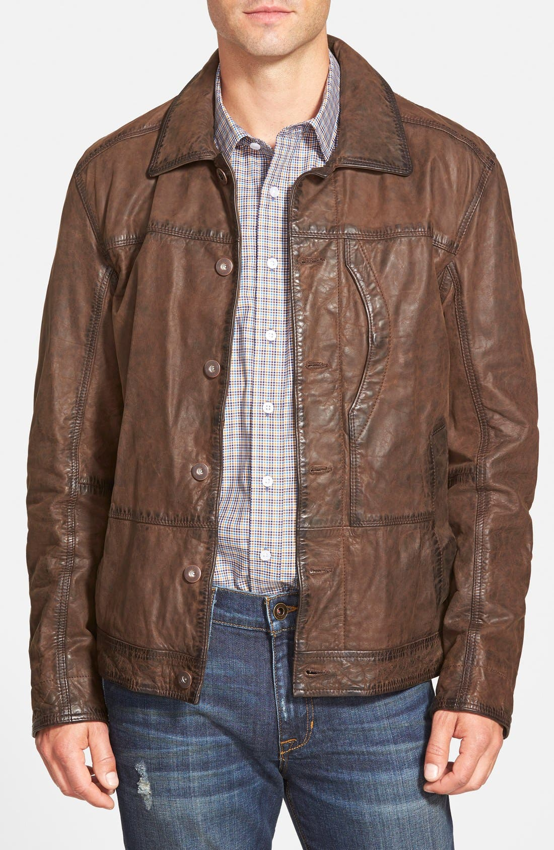 'Tenon' Leather Jacket,                             Main thumbnail 1, color,                             Cocoa