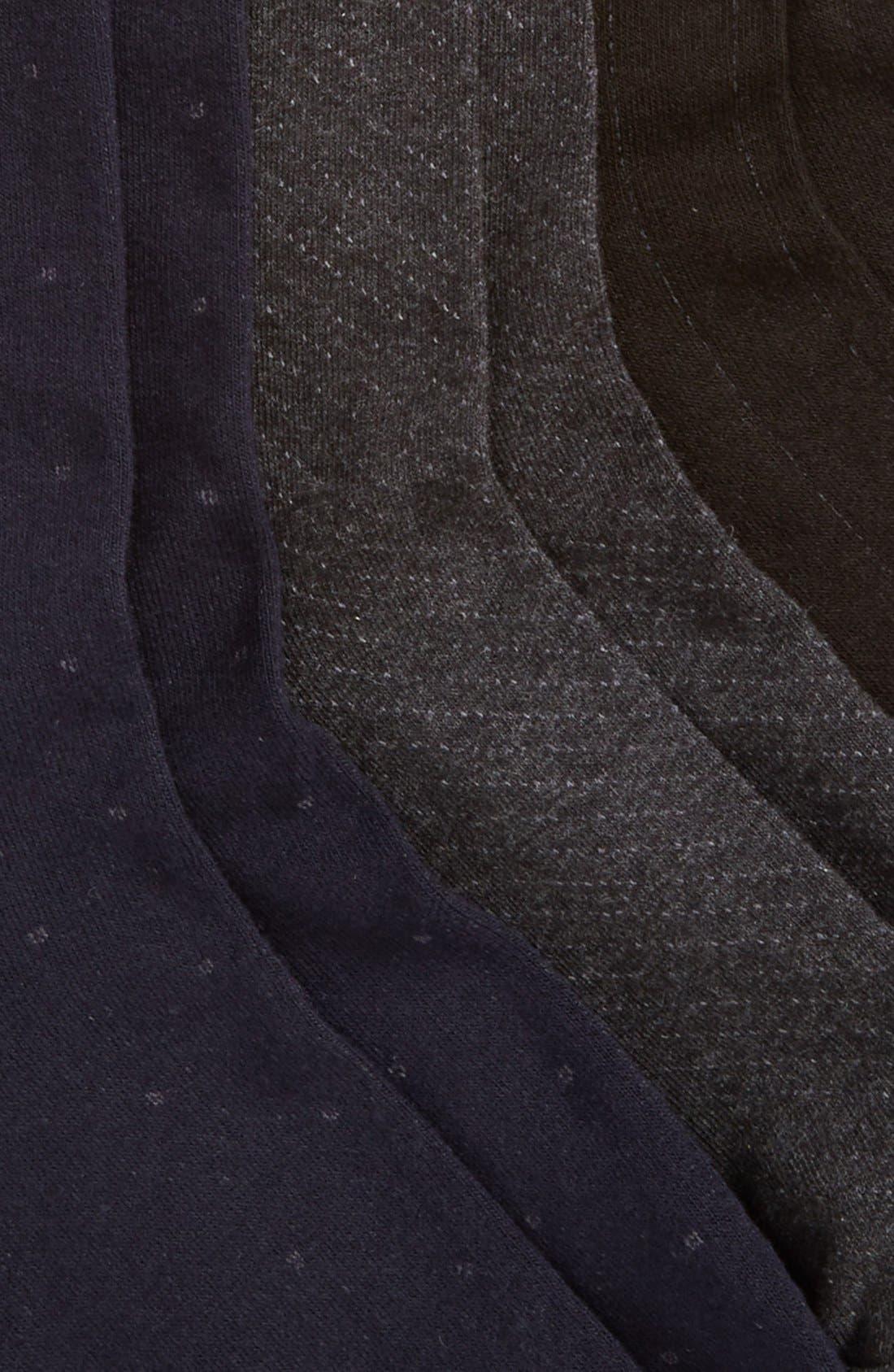 Dress Socks,                             Alternate thumbnail 2, color,                             Charcoal Heather/ Navy/ Black