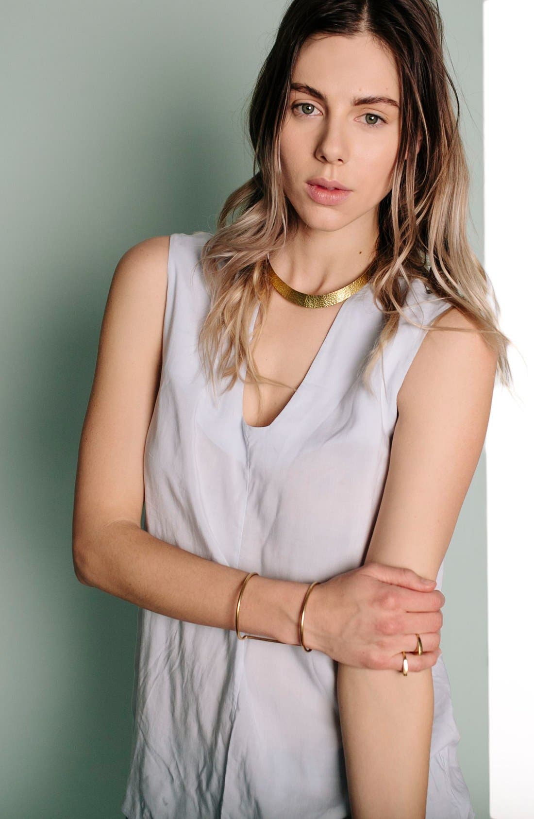 Hammered Plate Collar Necklace,                             Alternate thumbnail 5, color,