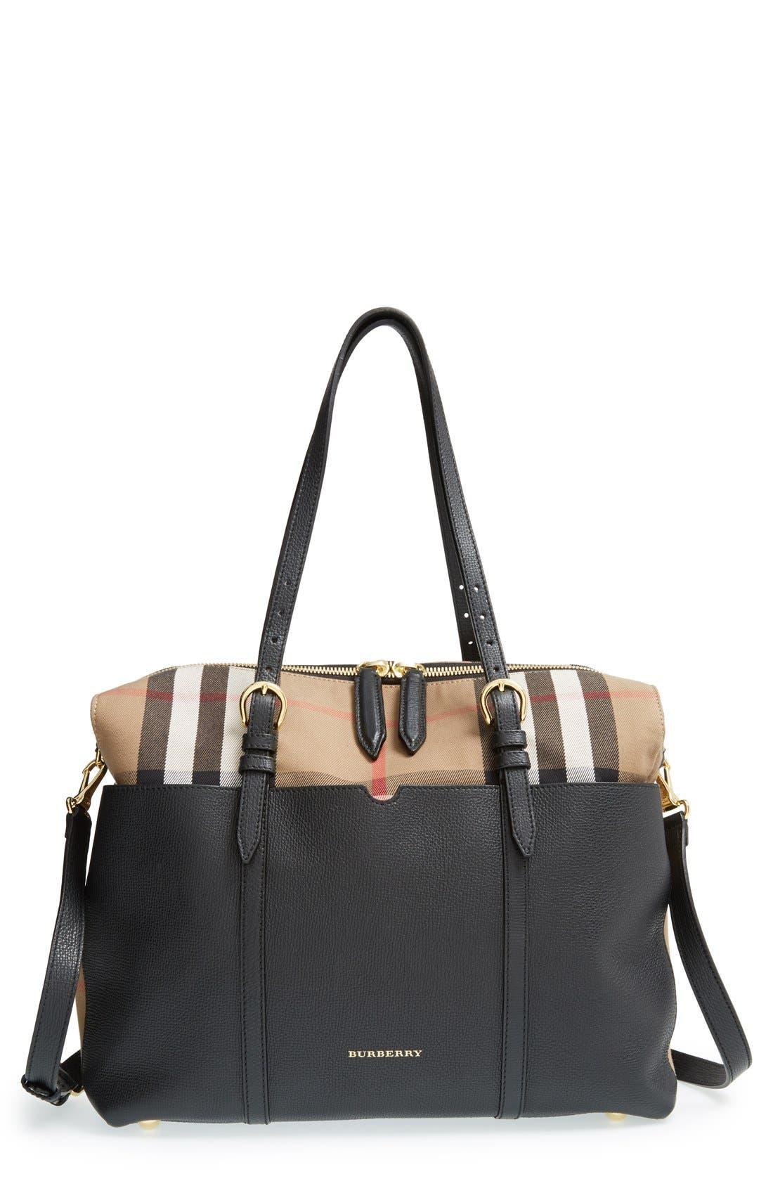 'Mason - House Check' Diaper Bag,                             Main thumbnail 1, color,                             Black