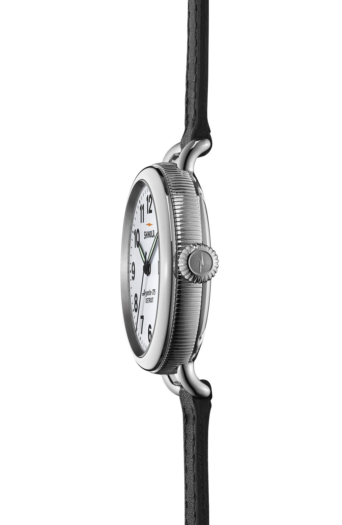 'The Birdy' Double Wrap Leather Strap Watch, 34mm,                             Alternate thumbnail 4, color,                             Black/ White