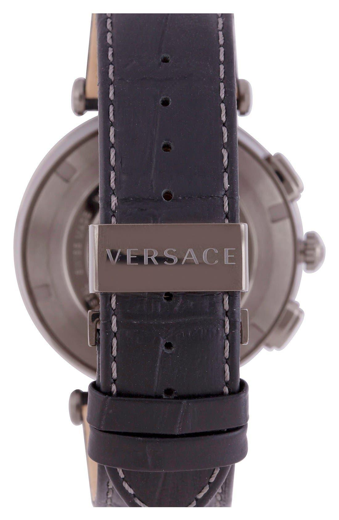 Alternate Image 2  - Versace 'V-Race GMT' Round Leather Strap Watch, 46mm