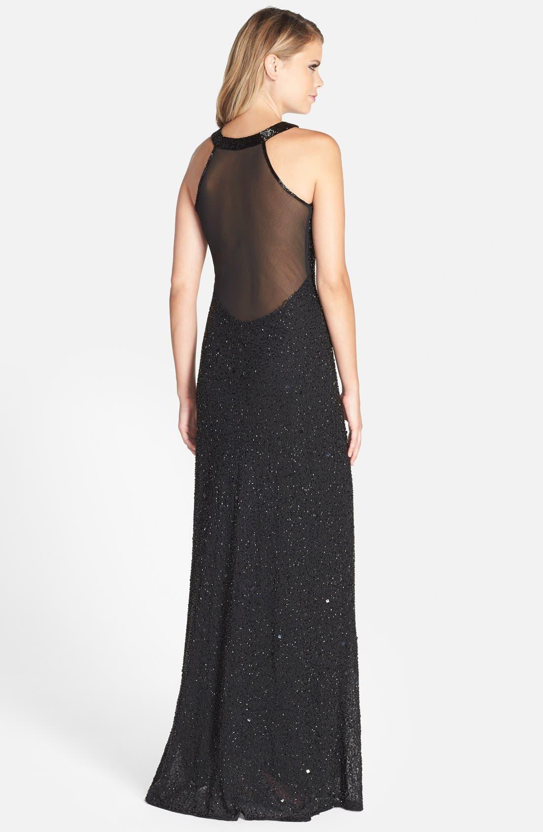 Illusion Back Sequin & Bead Gown,                             Alternate thumbnail 2, color,                             Black