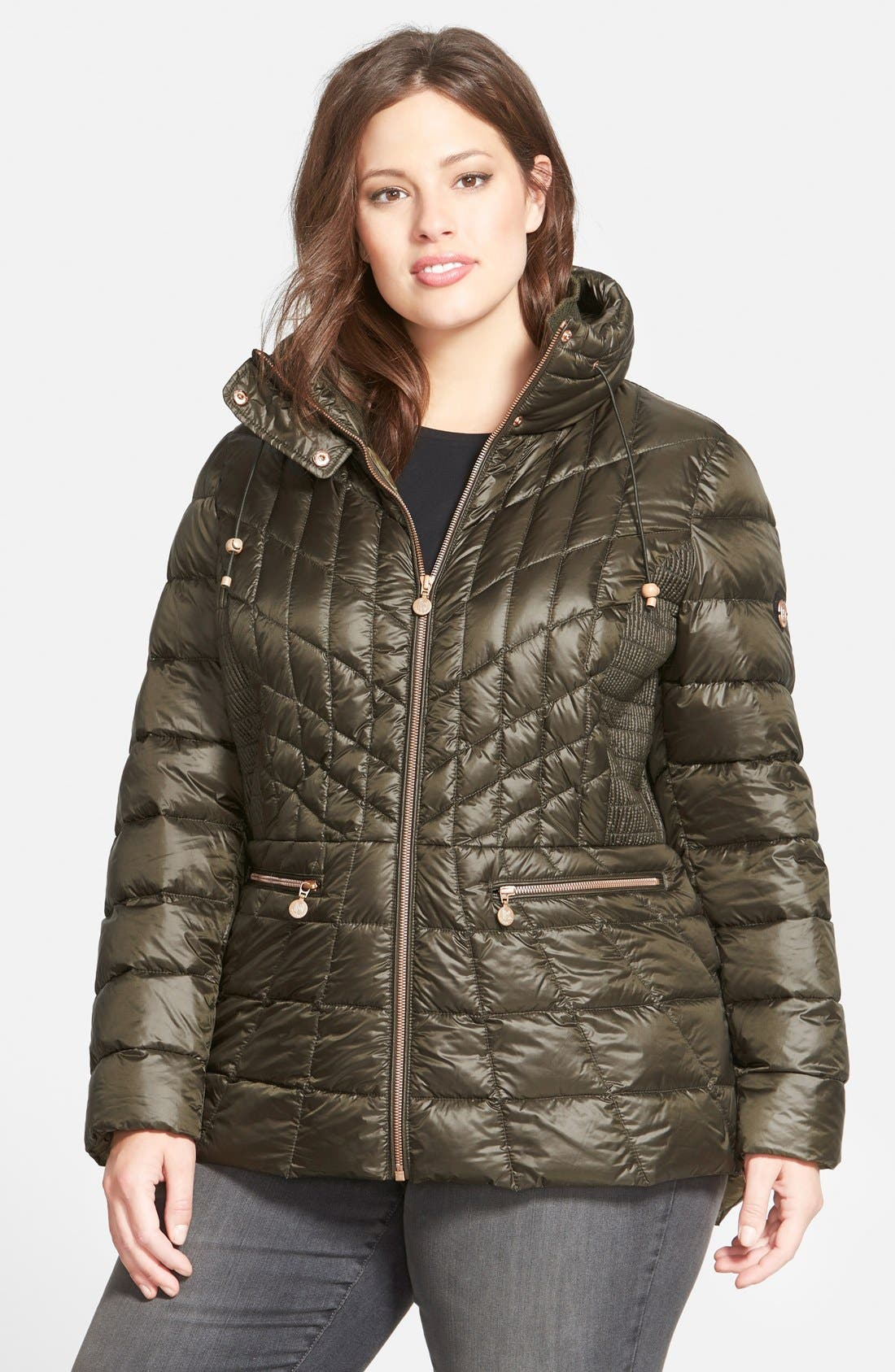 Packable Jacket with Down & PrimaLoft<sup>®</sup> Fill,                         Main,                         color, Deep Olive/ Cinder Lining