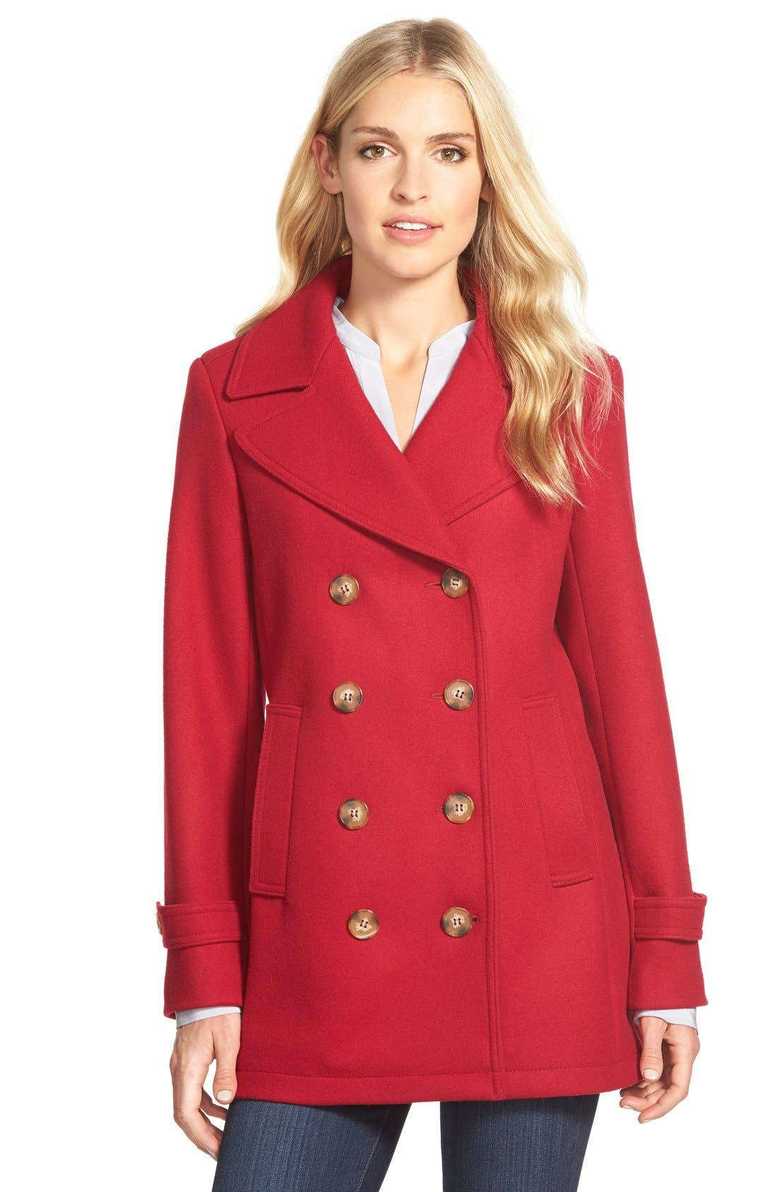 Wool Blend Peacoat,                         Main,                         color, Red