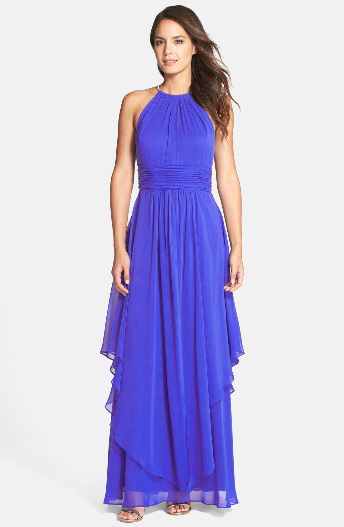 Chiffon Halter Gown,                         Main,                         color, Cobalt