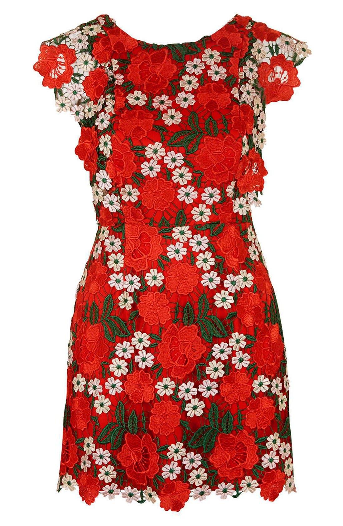 Alternate Image 3  - Topshop Floral Lace A-Line Dress