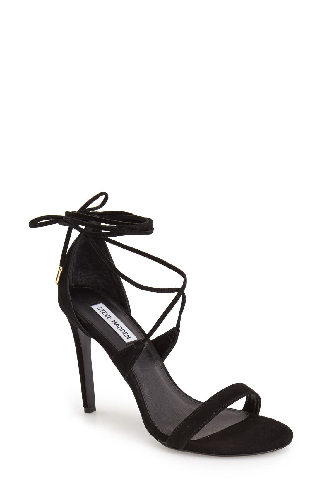 'Presidnt' Lace-Up Sandal,                             Main thumbnail 1, color,                             Black Suede