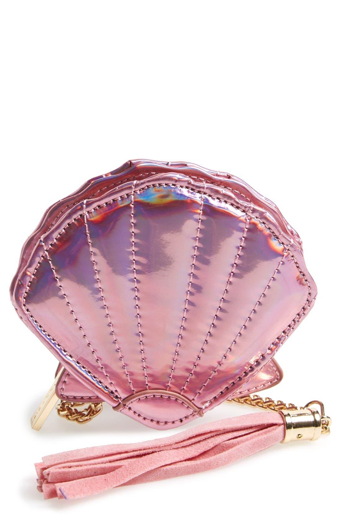 'Shell' Coin Purse,                             Main thumbnail 1, color,                             Pink