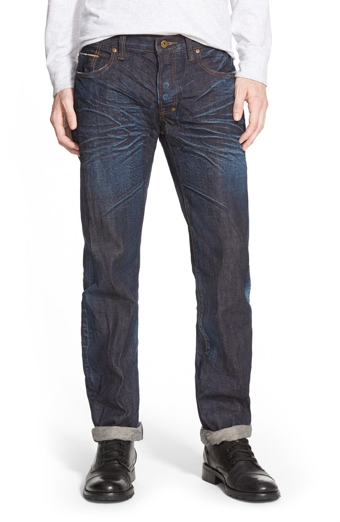 'Barracuda' Straight Leg Selvedge Jeans,                         Main,                         color, 6 Month Wash