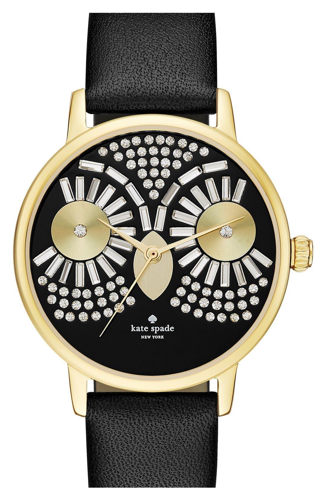 Main Image - katespade new york'metro - night owl' leather strap watch, 33mm