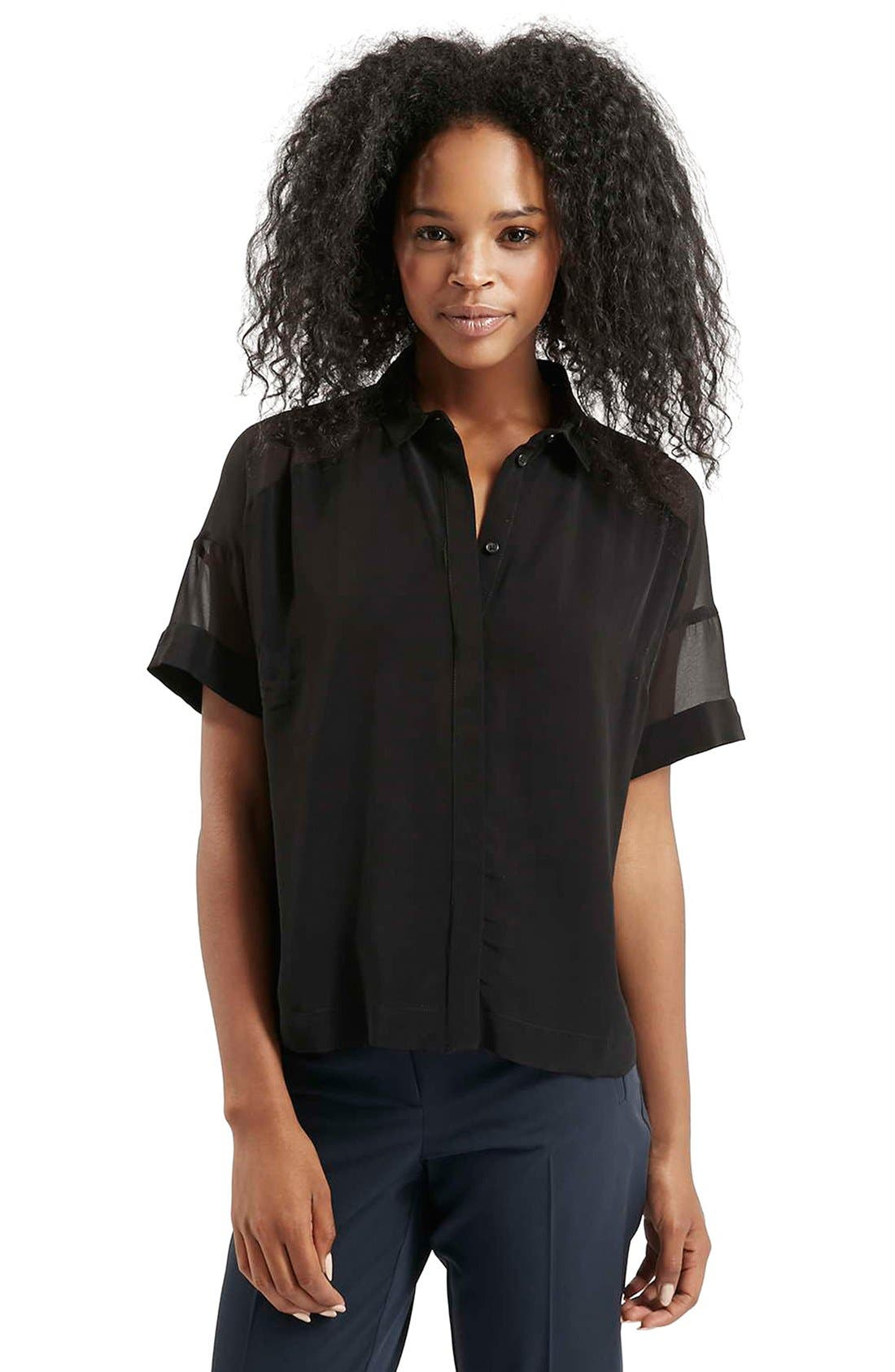 Main Image - Topshop Chiffon Panel Shirt