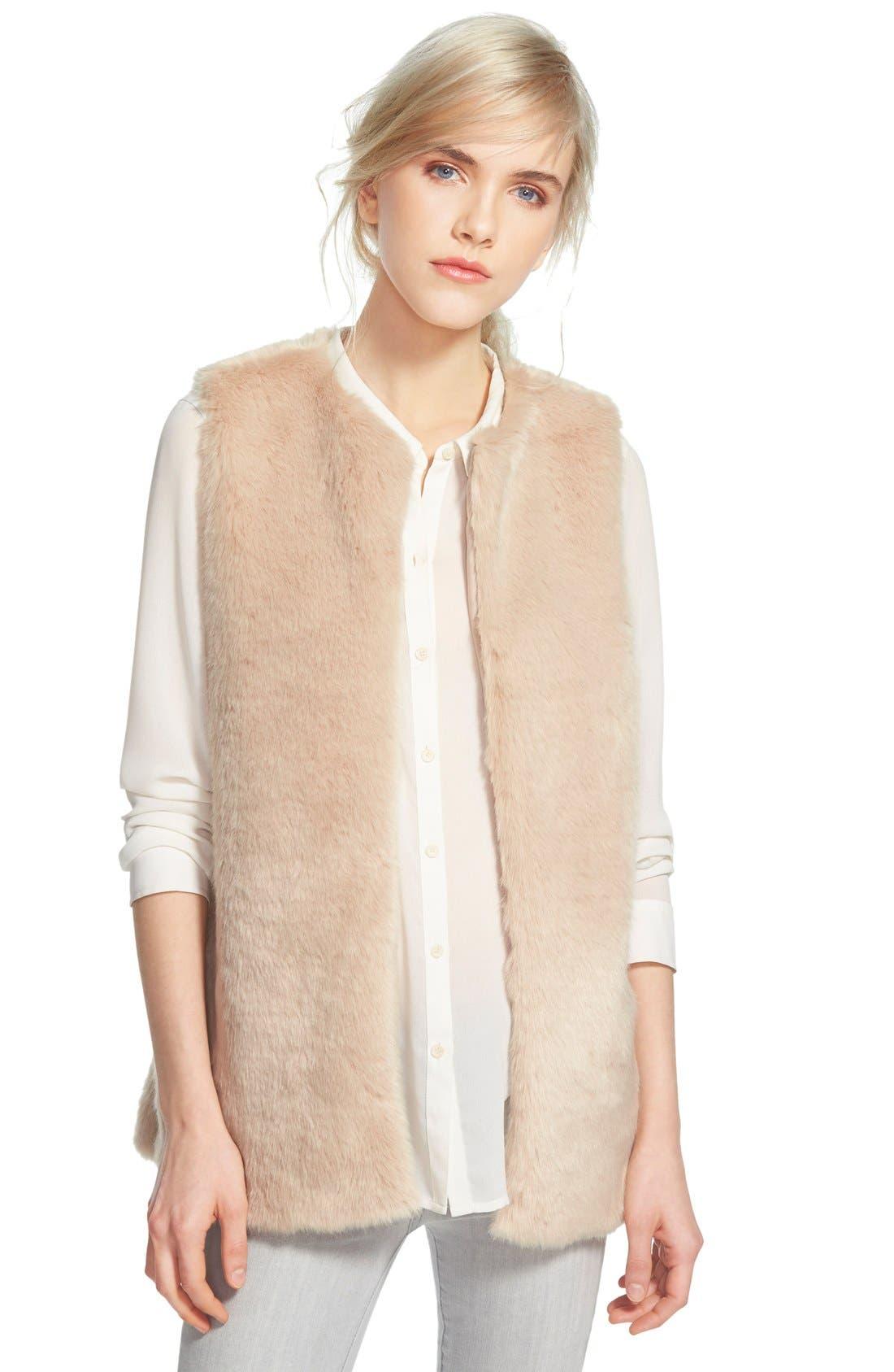 FauxFur Vest,                         Main,                         color, Camel