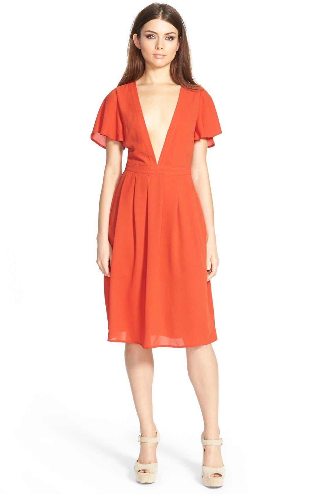 Alternate Image 1 Selected - Storee V-Neck Midi Dress