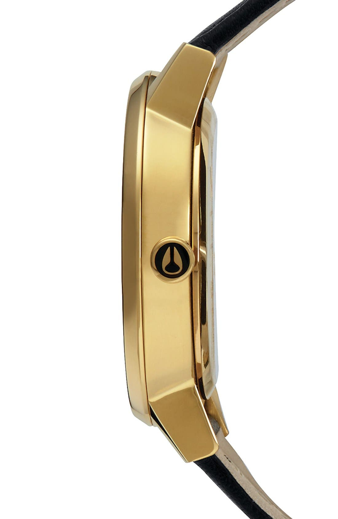 'The Kensington' Leather Strap Watch, 37mm,                             Alternate thumbnail 2, color,                             Black/ Gold