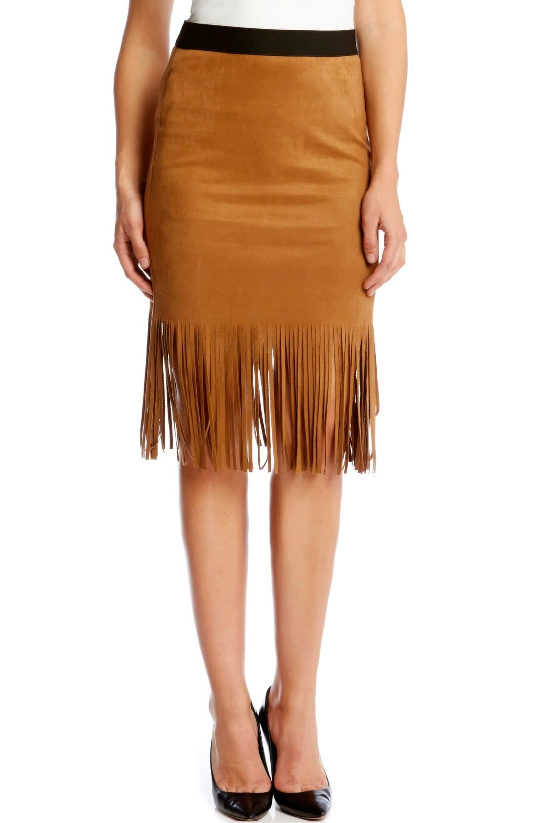 Main Image - Karen Kane Faux Suede Midi Pencil Skirt with Fringe