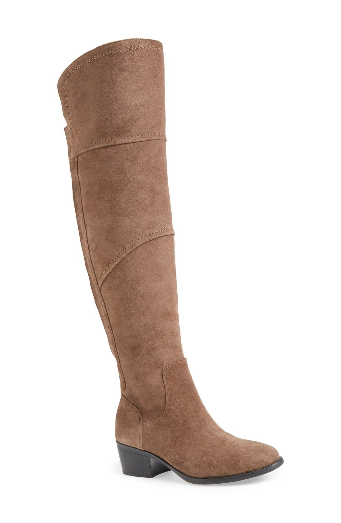 'Bernadine' Over the Knee Boot,                             Main thumbnail 1, color,                             Midnght Taupe Suede