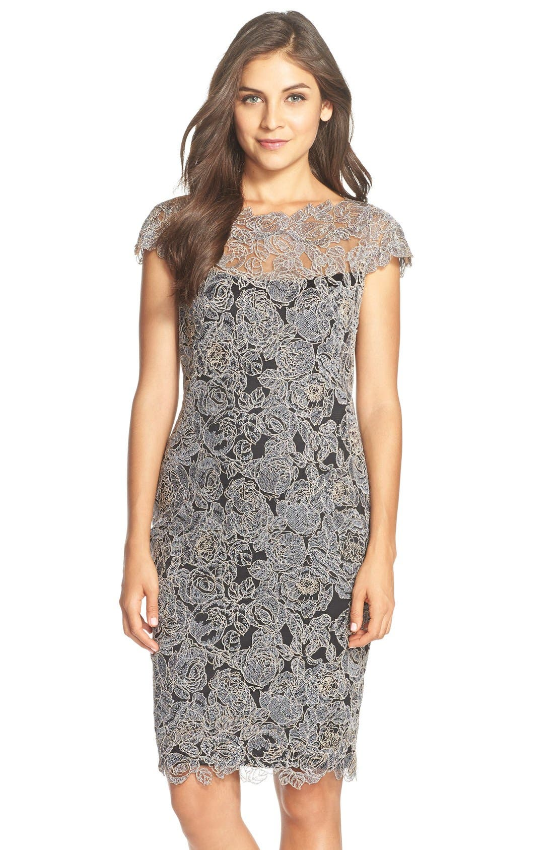 Embroidered Mesh Sheath Dress,                         Main,                         color, Steel Shadow/Black
