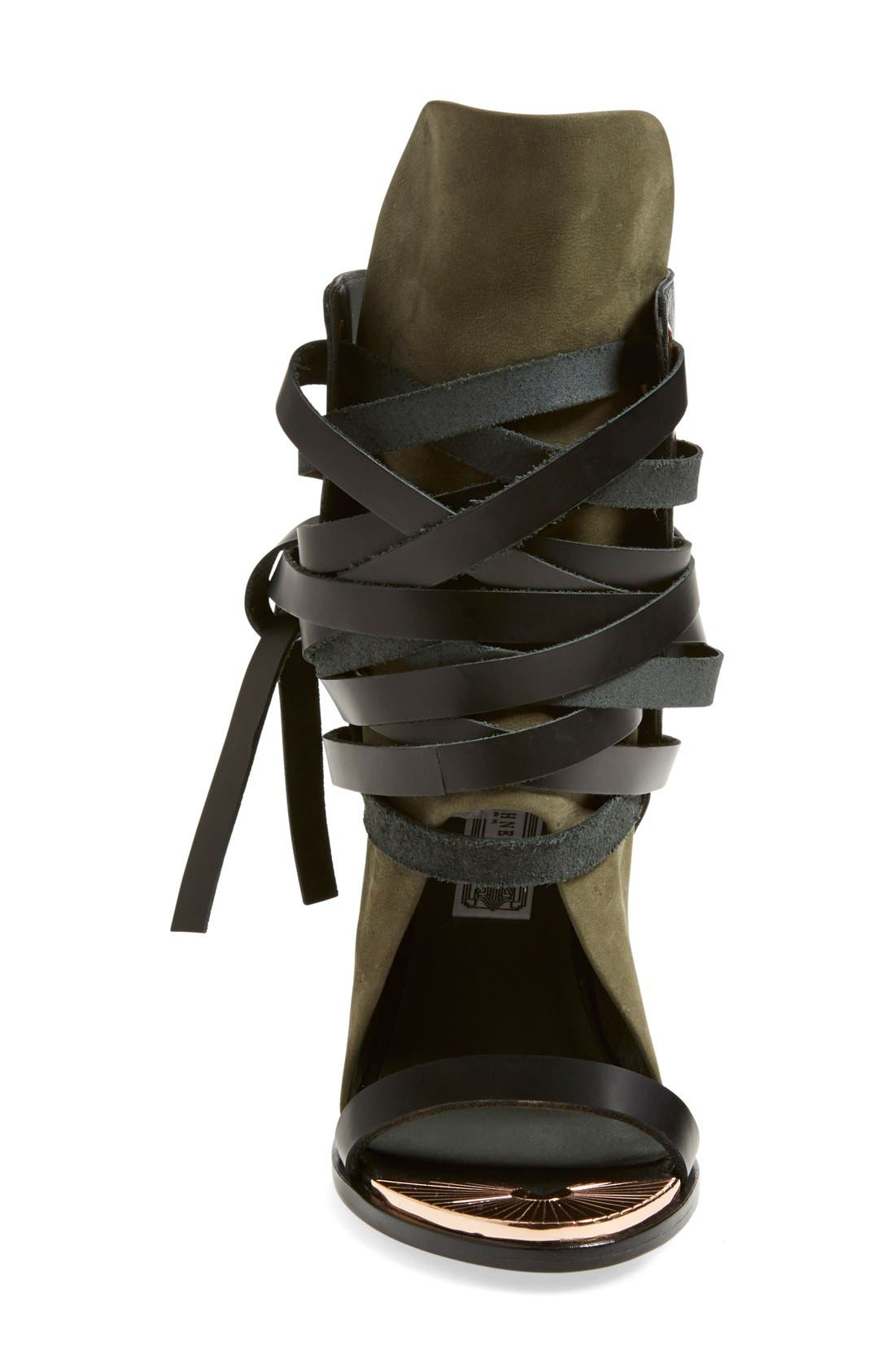'Mount' Wedge Sandal,                             Alternate thumbnail 3, color,                             Black/ Cargo