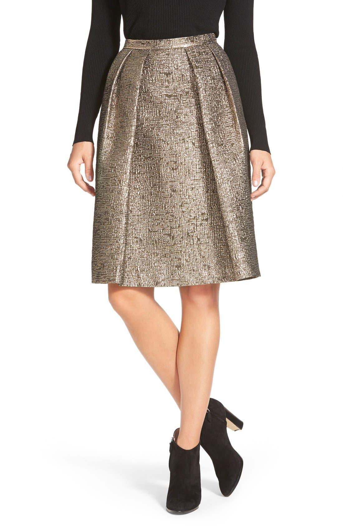 Main Image - Pink Tartan 'Tabitha' Metallic Cloqué Skirt