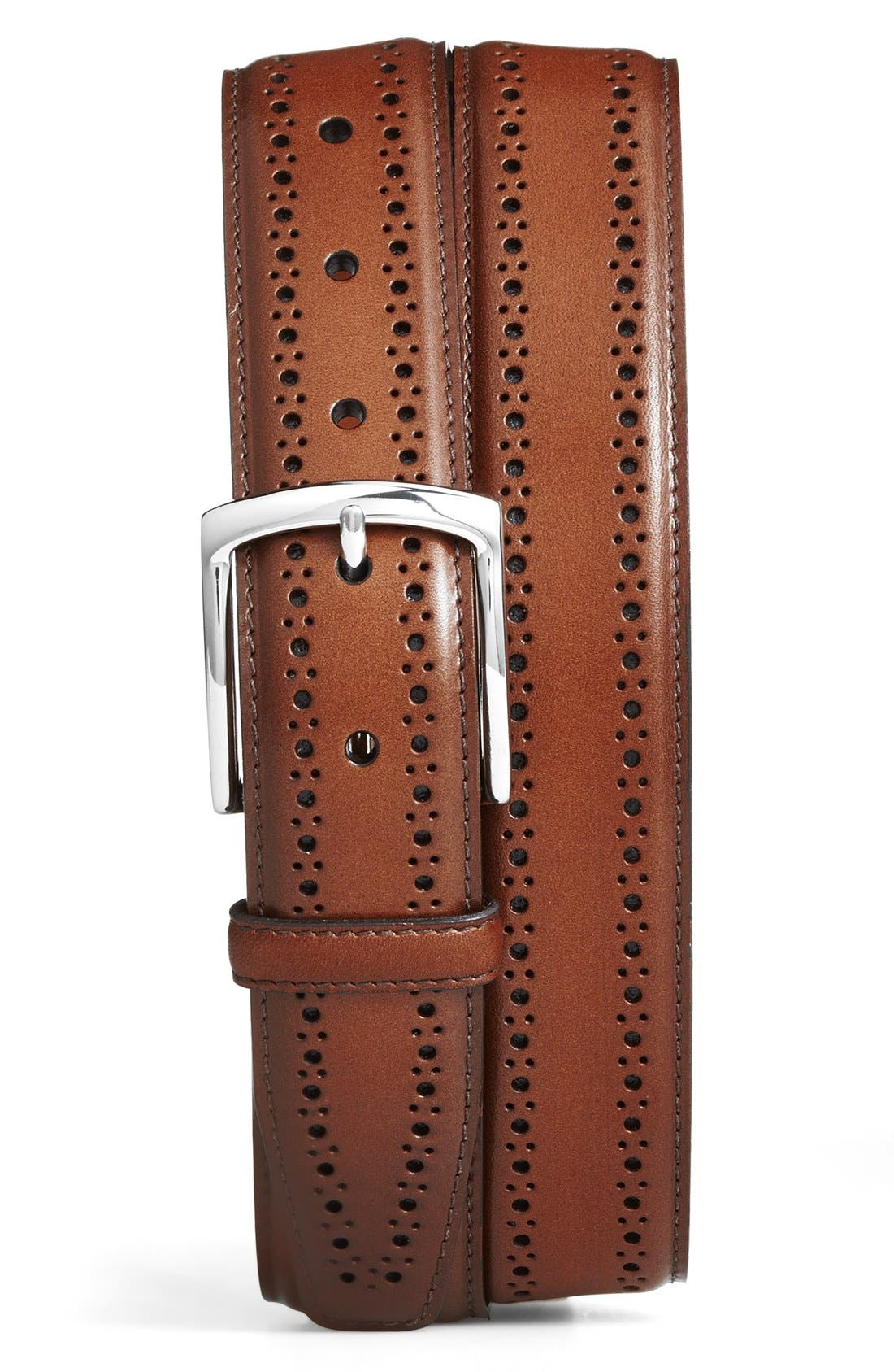 Manistee Brogue Leather Belt,                             Main thumbnail 1, color,                             Walnut