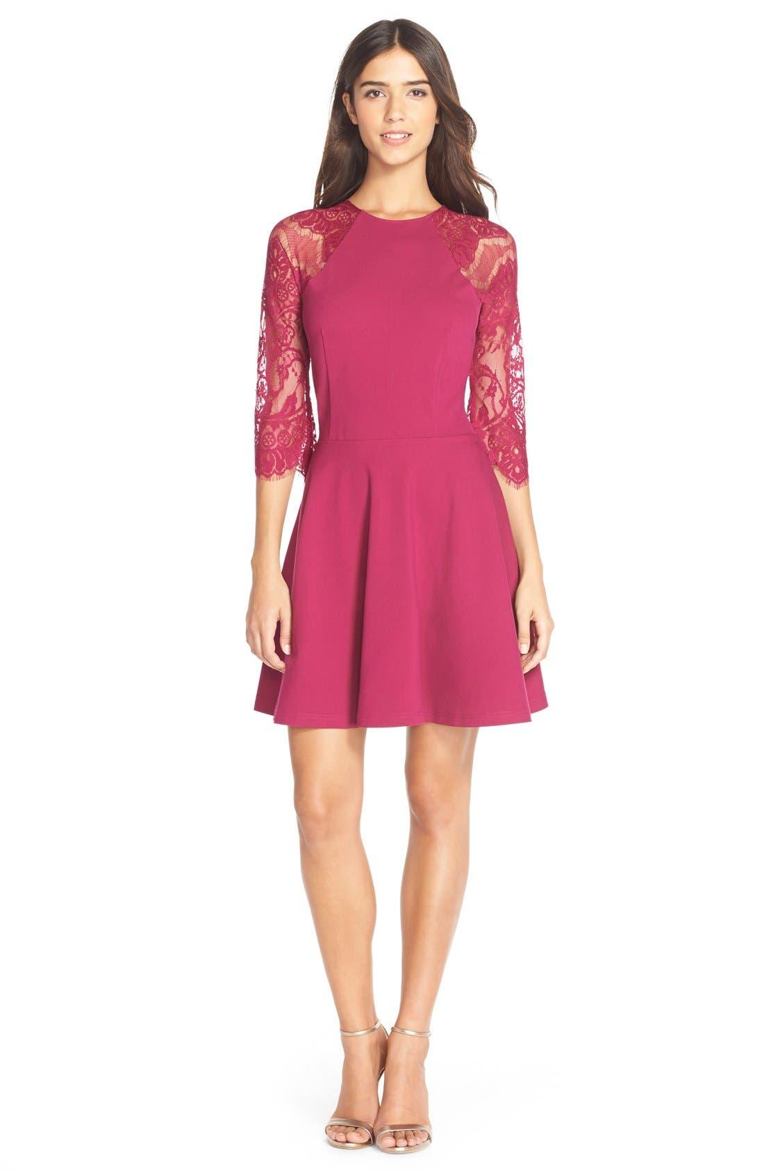 Alternate Image 3  - BB Dakota 'Yale' Lace Panel Fit & Flare Dress