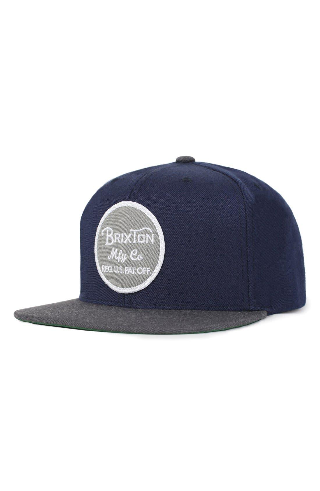 'Wheeler' Snapback Cap,                         Main,                         color, Navy/ Charcoal