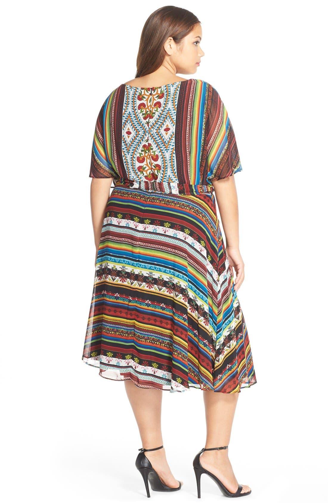 Alternate Image 2  - Gabby Skye 'Boho Chic' Belted Print Chiffon Dress (Plus Size)