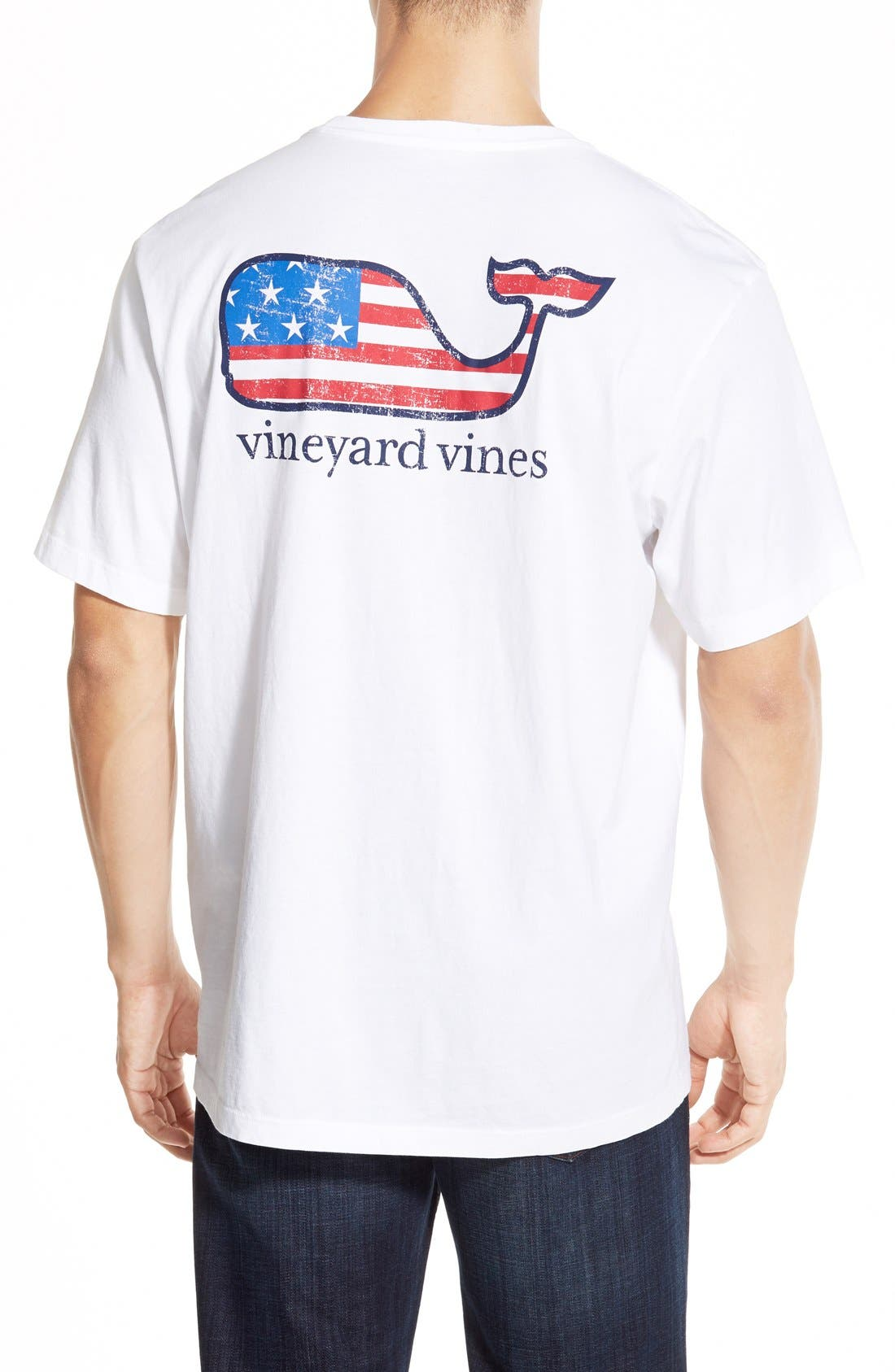 American Flag Whale Graphic T-Shirt,                             Main thumbnail 1, color,                             White
