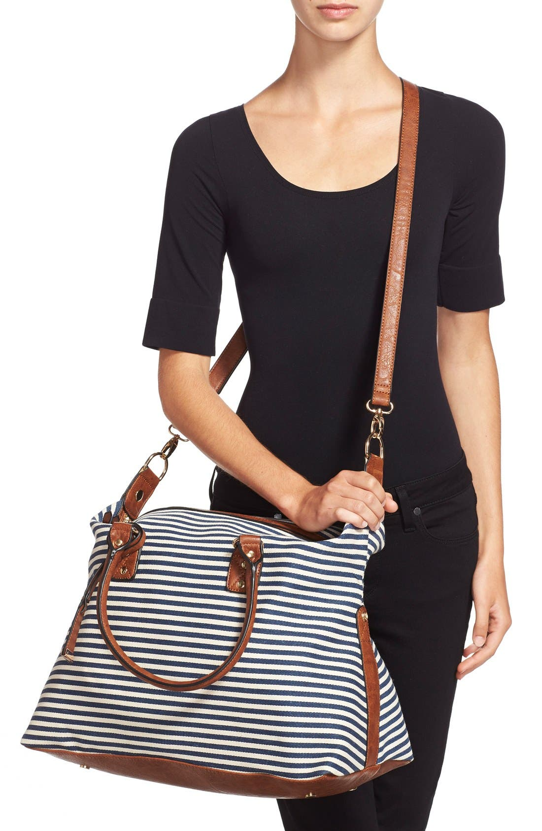 Alternate Image 2  - Sole Society 'Leighton' Stripe Duffel Bag