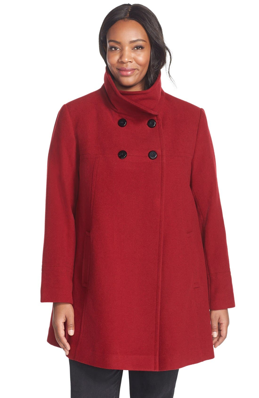 Main Image - Larry Levine Wool Blend A-Line Babydoll Coat (Plus Size)