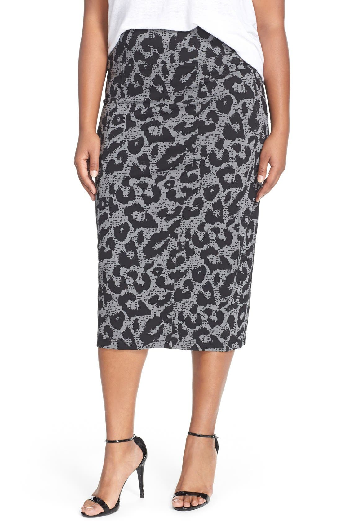 Alternate Image 1 Selected - Melissa McCarthy Seven7 Ponte Pencil Skirt (Plus Size)