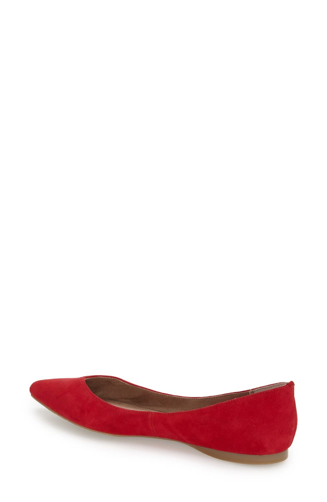 'Moveover' Pointy Toe Leather Flat,                             Alternate thumbnail 3, color,                             Red Suede