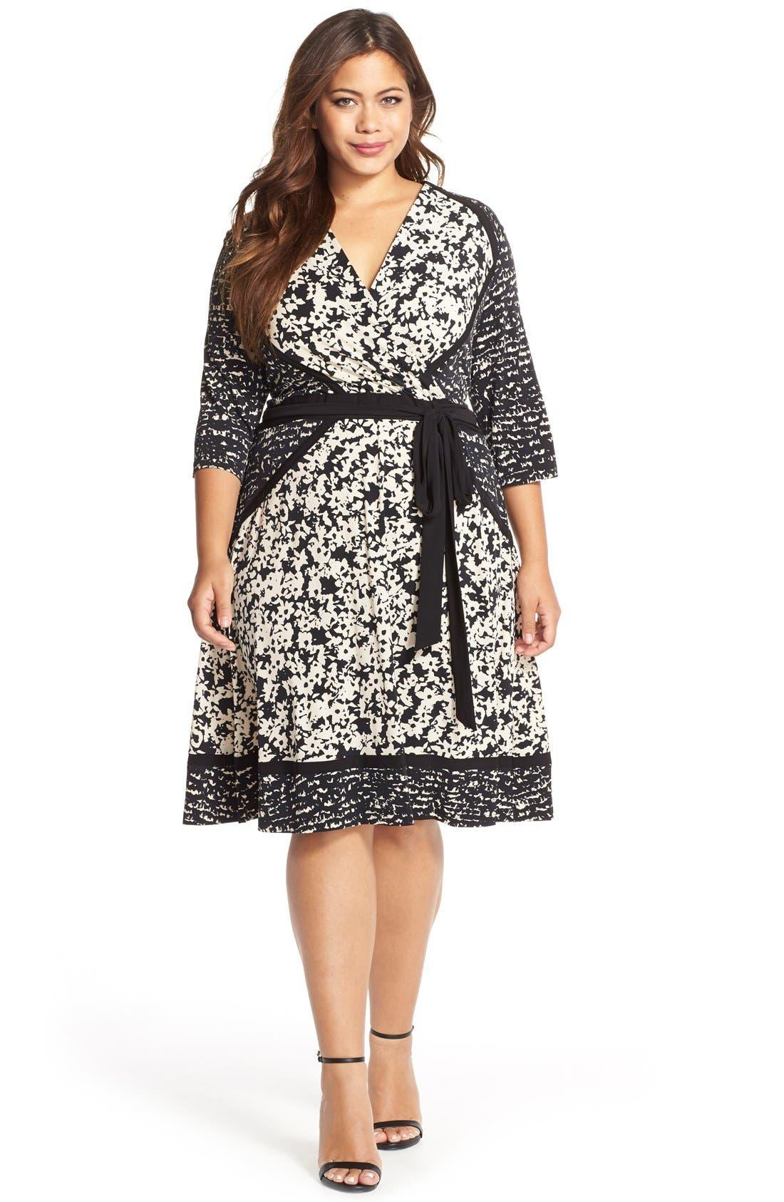 Alternate Image 3  - Taylor Dresses Mix Print Faux Wrap Jersey A-Line Dress