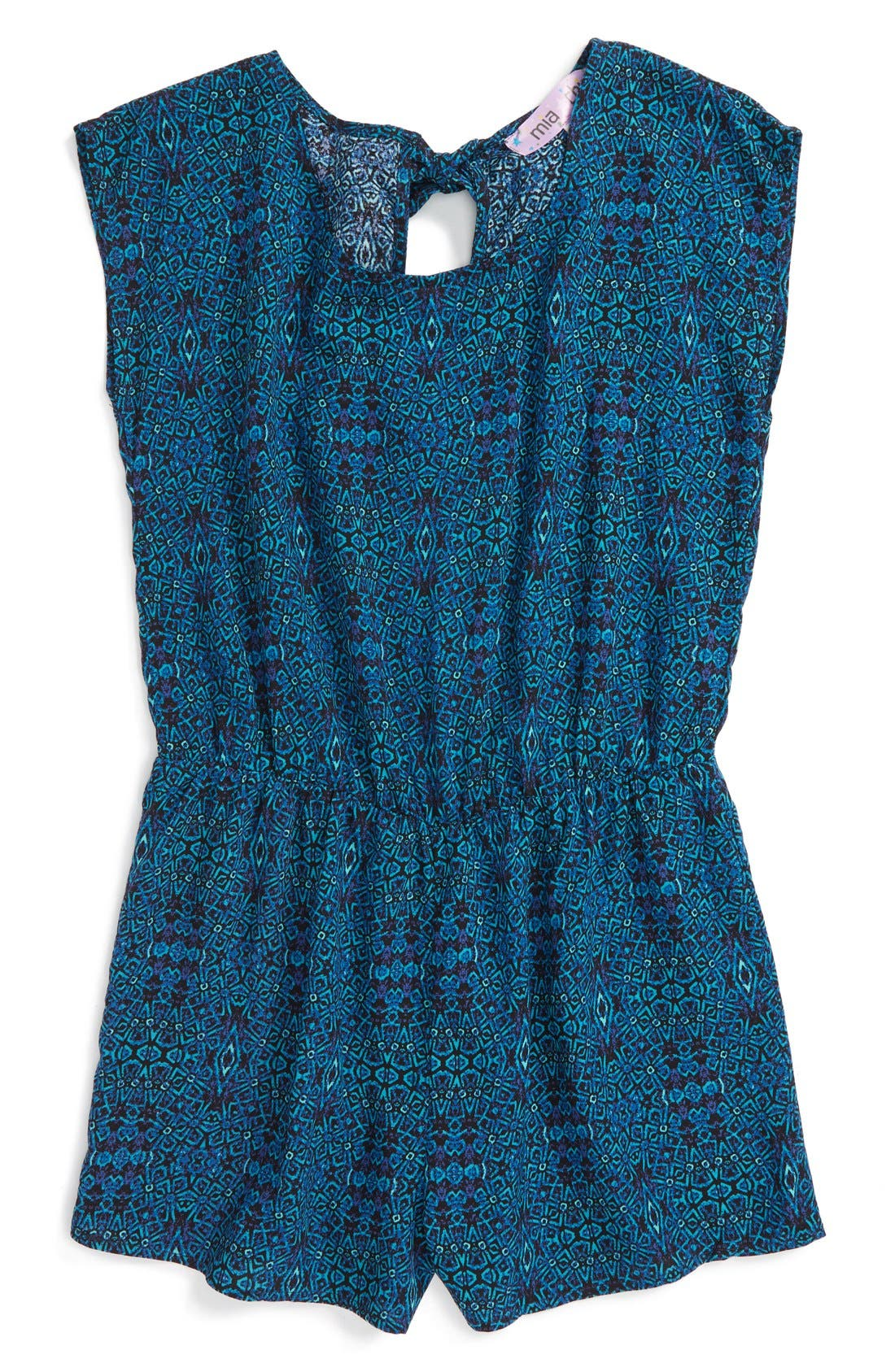Alternate Image 1 Selected - Mia Chica Floral Print Cap Sleeve Romper (Big Girls)