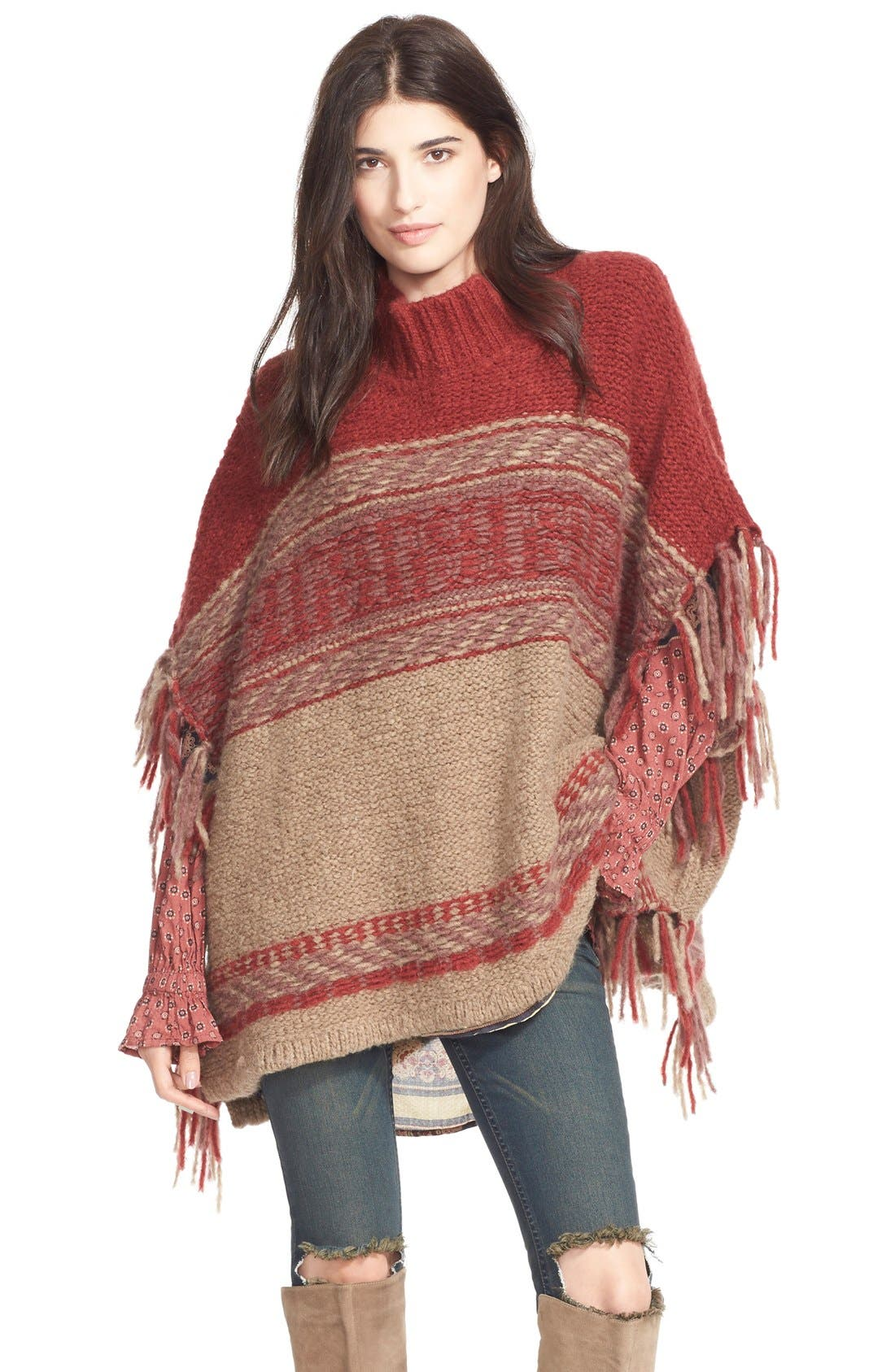 Alternate Image 1 Selected - Free People 'Labyrinth' Stripe Colorblock Poncho