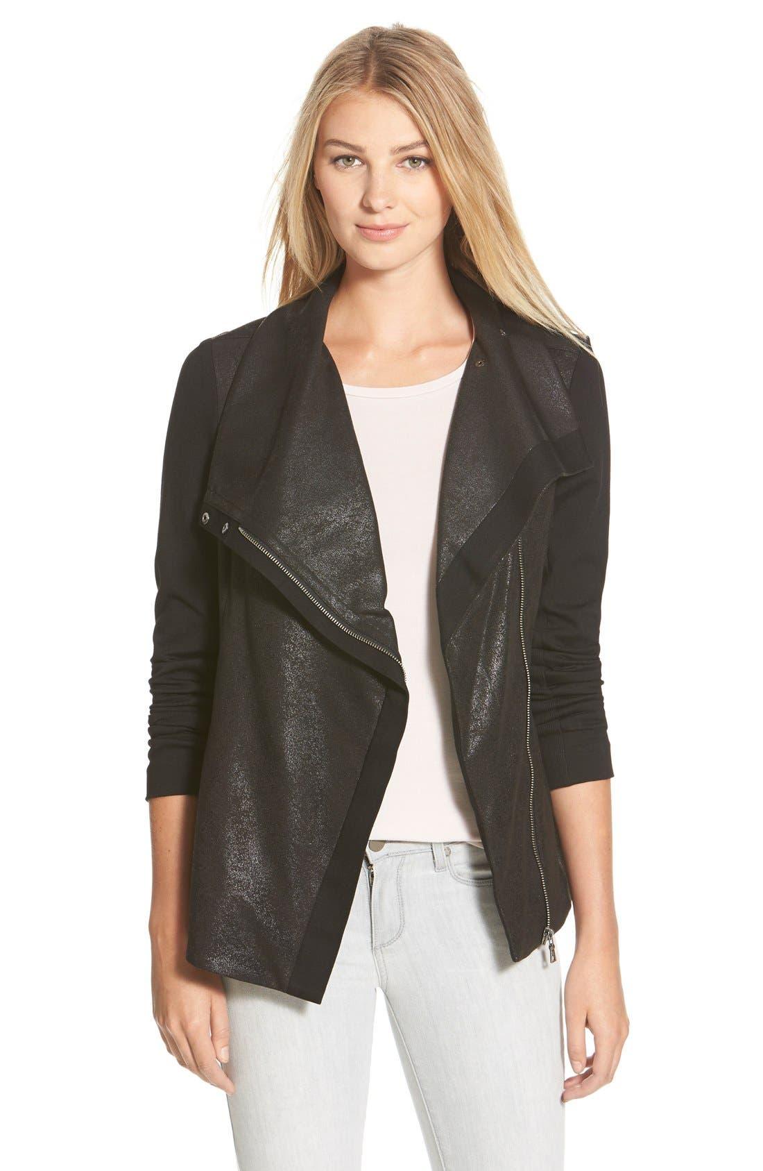 Distressed Foil Ponte Knit Asymmetrical Jacket,                             Main thumbnail 1, color,                             Rich Black