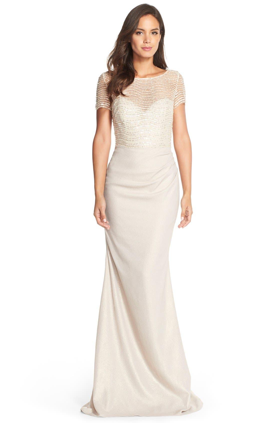 Main Image - Badgley Mischka Embellished Illusion Crepe Gown