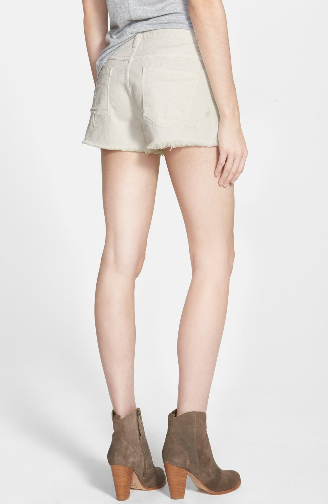 Alternate Image 2  - Free People 'Runaway' Cutoff Denim Shorts (Polar White)